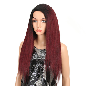 Image 2 - MAGIC Hair Synthetic Wigs For Black Women 28 Inch 70CM Heat Resistant Fiber Hair Long Ombre Brown Yaki Straight Lace Front Wig