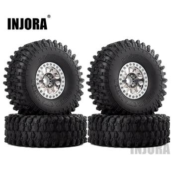 INJORA 4PCS Metal 1.9 Beadlock Wheel Rim Tires Set for 1/10 RC Crawler Car Axial SCX10 90046 Traxxas TRX-4 Redcat GEN 8 1