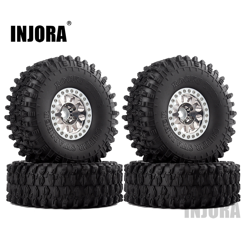 INJORA 4PCS Metal 1.9 Beadlock Wheel Rim Tires Set For 1/10 RC Crawler Car Axial SCX10 90046 Traxxas TRX-4 Redcat GEN 8