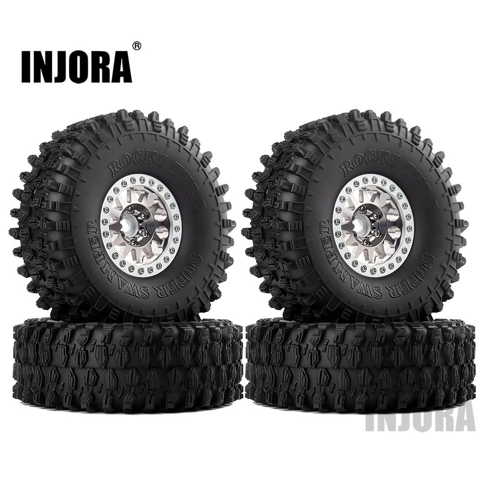 INJORA 4PCS Metal 1.9 Beadlock Wheel Rim Tires Set For 1/10 RC Crawler Car Axial SCX10 90046 Traxxas TRX-4 Redcat GEN 8