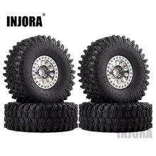INJORA 4PCS Metal 1.9 Beadlock Wheel Rim Tires Set for 1/10 RC Crawler Car Axial SCX10 90046 Traxxas TRX 4 Redcat GEN 8
