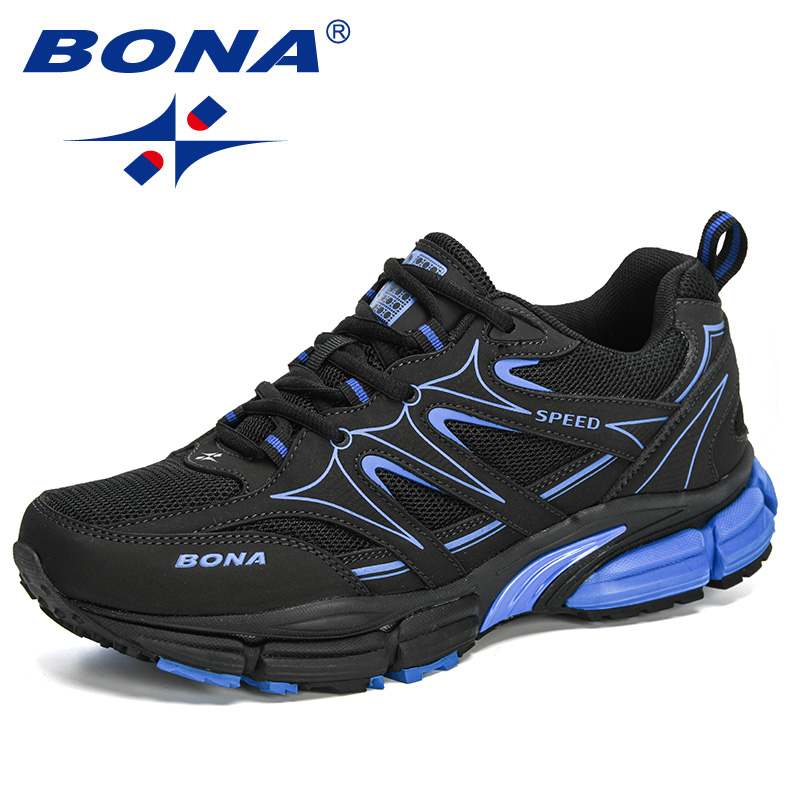 BONA 2020 New Designers Action Leather Mesh Running Shoes  Men Large Size Sneakers Sport Shoes Man Walking Jogging Footwear