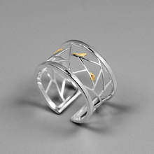 Joseph Mola 925 Sterling Silver Handmade Oriental Element Gold Bird Window Decoration Design Open Rings For Women Fine Jewelry(China)