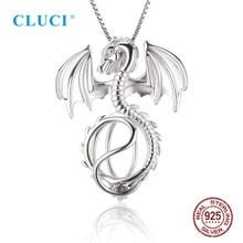 Cluci 3 Pcs Zilver 925 Dragon Vormige Parel Medaillon Amulet Hanger Ketting Voor Vrouwen 925 Sterling Zilveren Kooi Hanger SC072SB