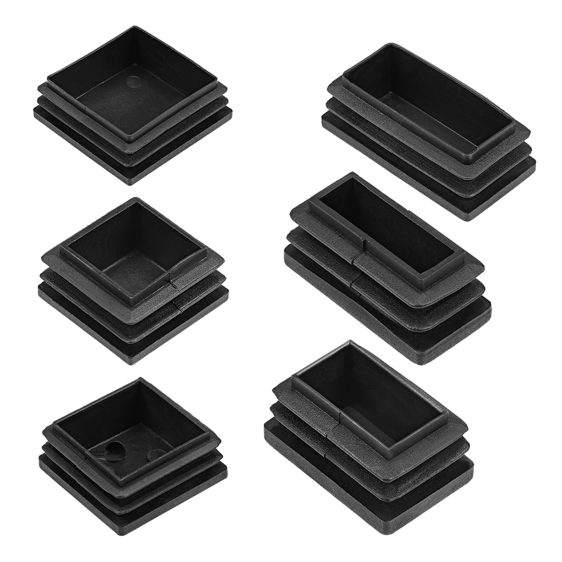 Uxcell 4-100pcs Plastic Plug End Caps 28x28/30x15/30x20/50x25/50x50mm Rectangular Furniture Table Chair Legs
