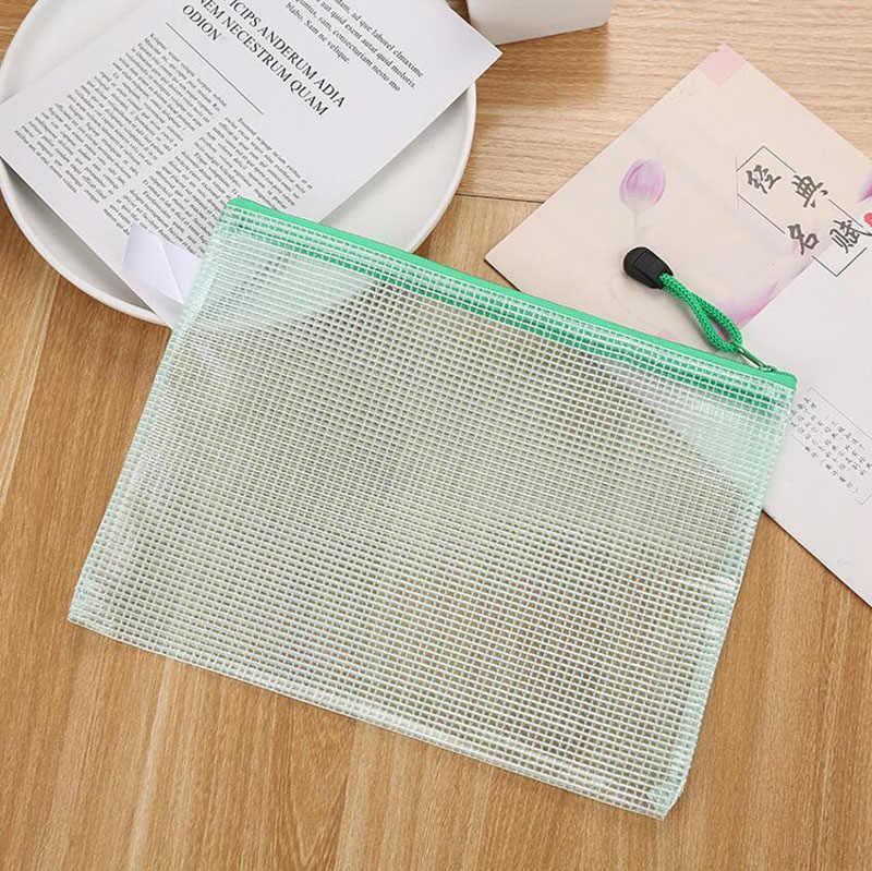 A5 boyutu büyük güzel kalite okul öğrenci dosya çantası sıcak satış marka Zip dosya tutucu 3 adet göndermek hediye