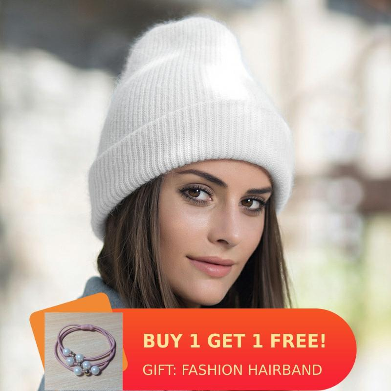 Women Winter Hat Knitted Beanie Hat Cashmere Knitted Hats For Women Cap Winter Autumn Rabbit Fur Ladies Solid Beanies Bonnet