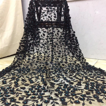 Hot Selling black African French 3D Flower Lace Fabric With beads High Quality Nigerian green Lace Fabric For Wedding