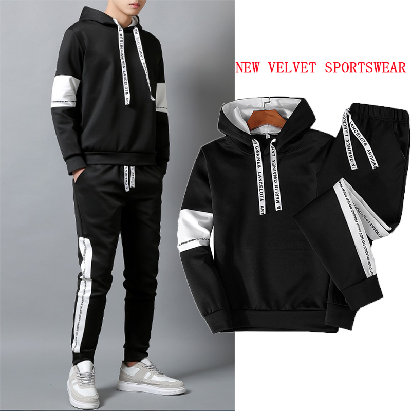 New Casual Sportswear Suit Men's 2020 Fashion Jogging Hoodie + Track Pants Spring And Autumn Two-piece Men's Tracksuit