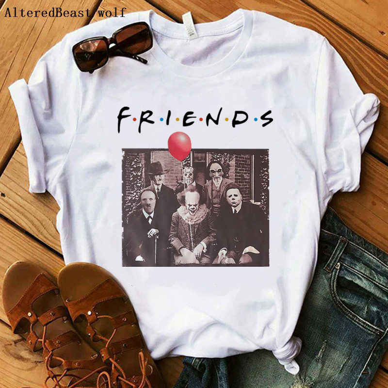 Horror Friends Pennywise Michael Myers Jason Voorhees halloween women vogue print t-shirt female summer short sleeve tops tee