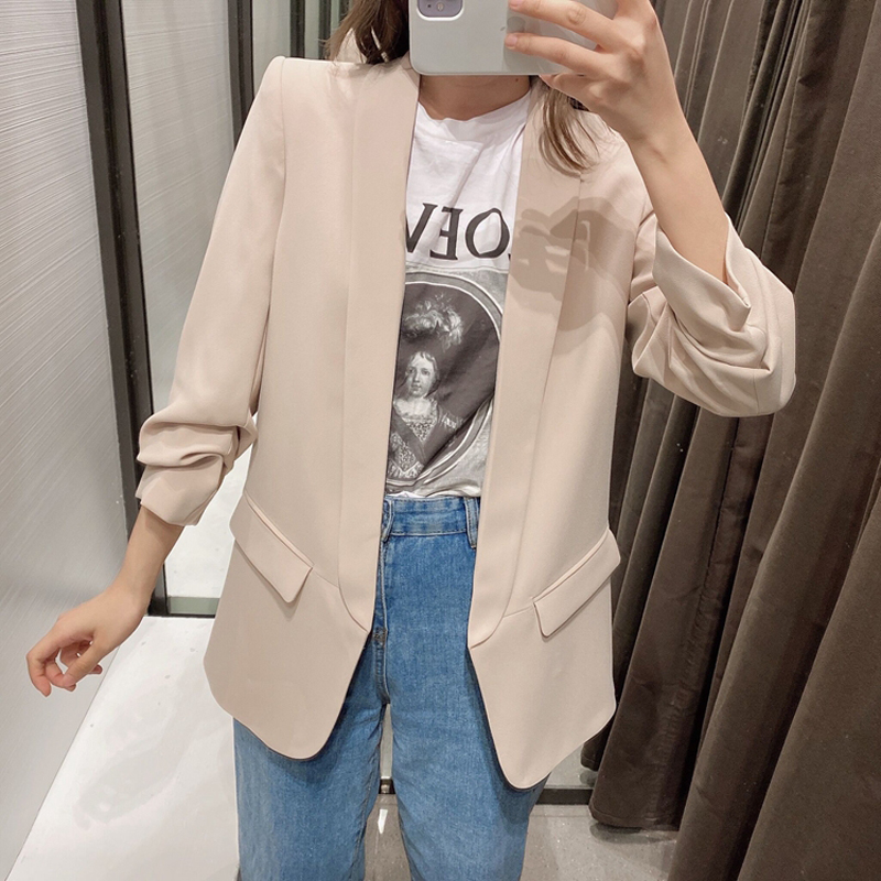 2020 Spring Autumn Women Blazers And Jackets Solid Pocket Roll Sleeve Suit Coat Female Outwear Tops Office Lady Blazers Feminino