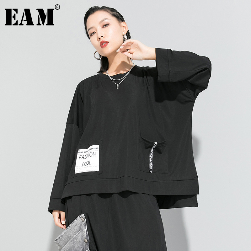 [EAM] Women Black Letter Printed Vent Big Size T-shirt New Round Neck Long Sleeve  Fashion Tide  Spring Autumn 2020 1R633