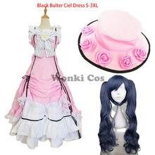 Costume de Cosplay noir pour femme, robe de princesse Lolita rose, chapeau de fête, dessin animé