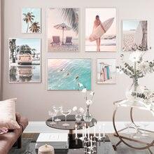 Sunny beach bus surf palmeiras pintura da lona parede da arte nórdico cartazes e cópias paisagem fotos para sala de estar decoração