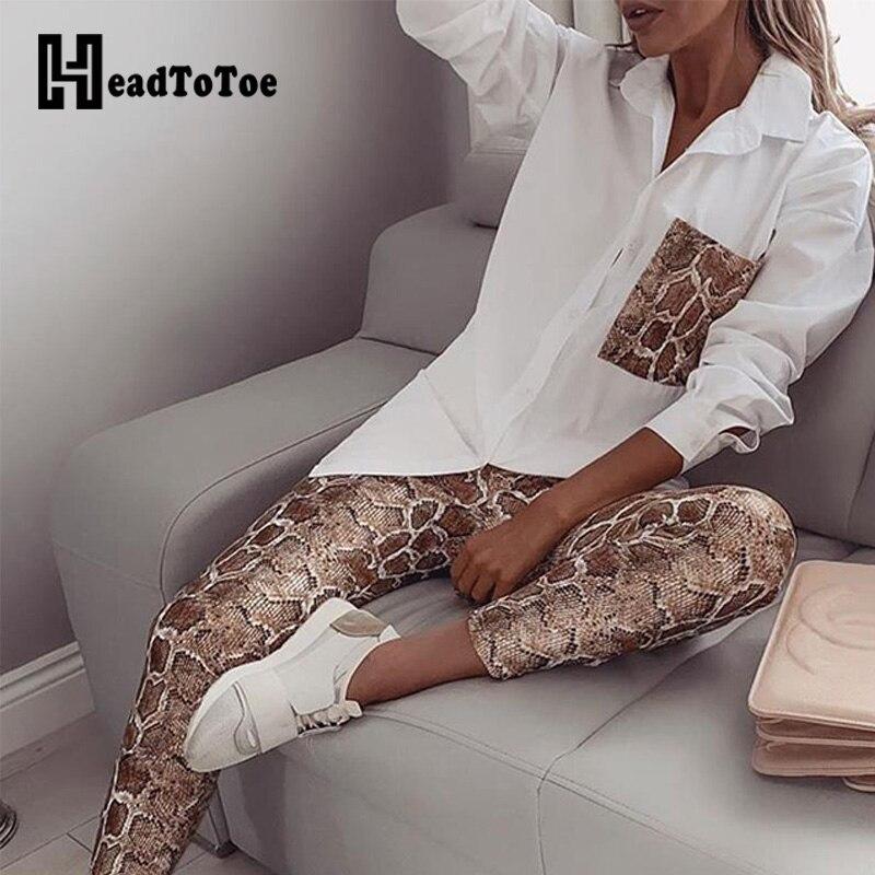 Snake Contrast Pocket Top & Pants Set Women Autumn Casual 2 Piece Outfits