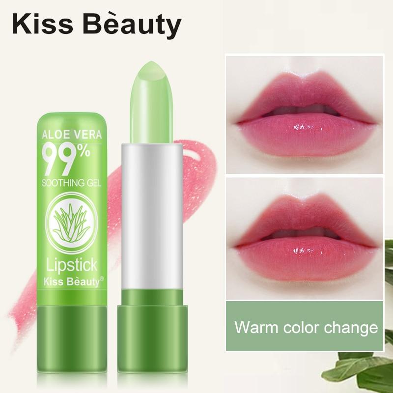 1 PCS Aloe Vera Natural Moisturizer Lipstick Temperature Changed Color Lipbalm Natural Magic Pink Protector Lips Makeup TSLM2