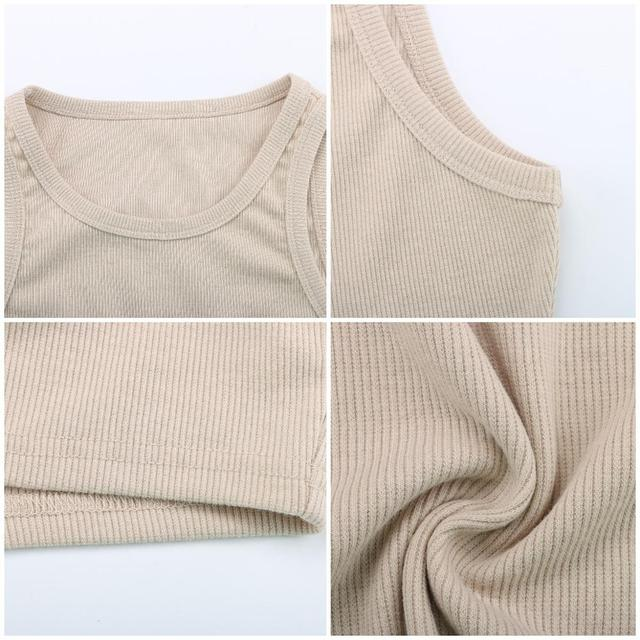 Tank Tops Sexy Crop Vest Solid Harajuku Korean Female Off Shoulder Knitted Khaki White Summer Women Tops 6