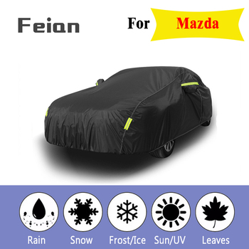 Full Car Covers Outdoor Waterproof Sun Acid Rain Snow Protection UV Car Umbrella black auto cover SUV Sedan Hatchback for Mazda