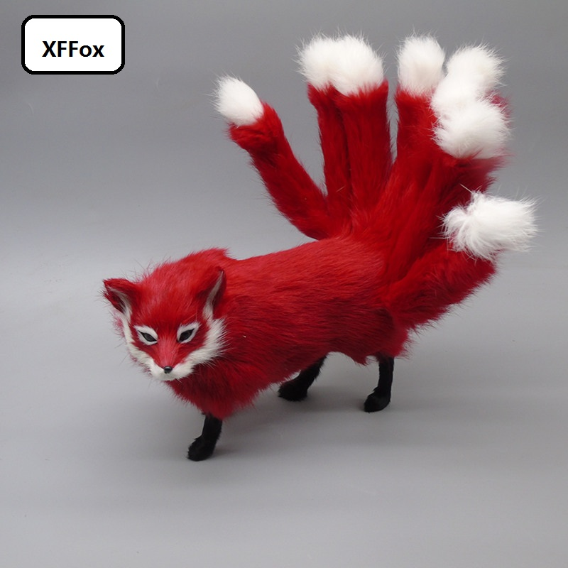 new real life red fox model plastic&furs simulation nine-tails fox doll gift about 35x10x14cm xf2317