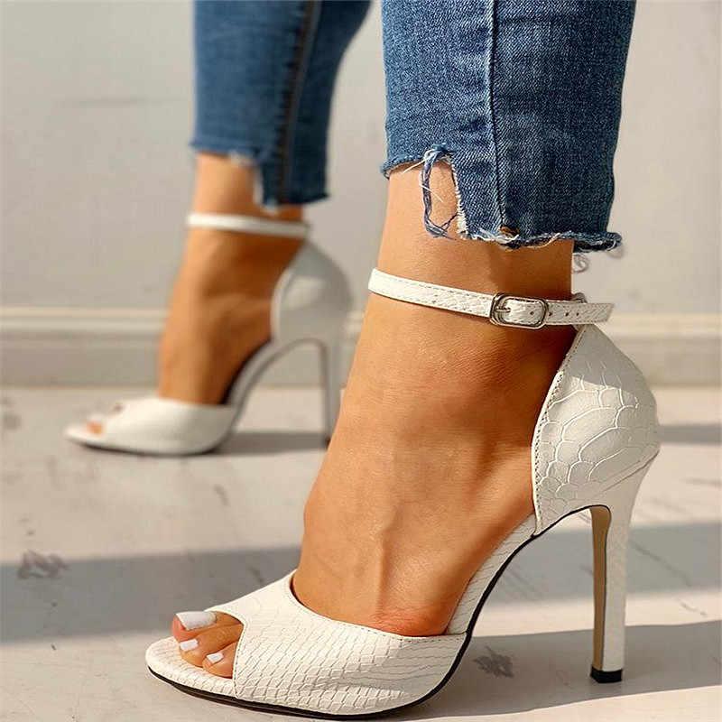 2020 kadın sandalet yaz seksi kadın düz renk deri Hollow balık ağız kadın Stiletto topuk sandalet açık ayak kadın ayakkabı