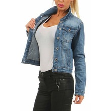 LASPERAL Women Frayed Denim Bomber Jean Jacket Basic Button