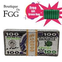 Boutique De FGG Stack of Cash Hot Fixed Crystals Women Money Evening Clutch Bags Diamond Wedding Dinner Purses and Handbags