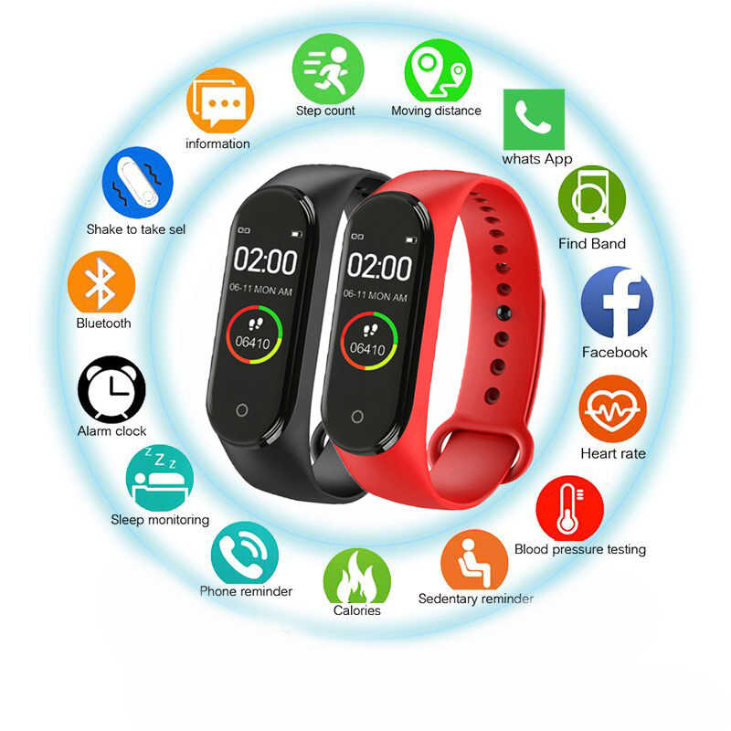 Hot New M4 Smart Bracelet Sports Blood Pressure Heart Rate Monitor Smart Bracelet Men And Women Multi-Function Waterproof