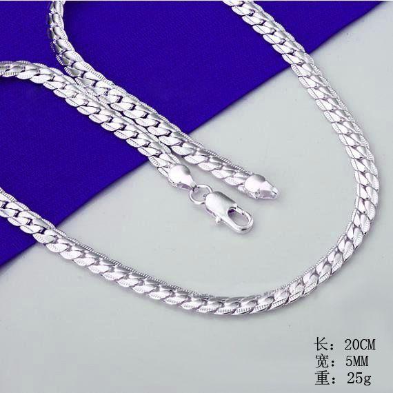QiLeSen 925 стерлингового серебра модные мужские ювелирные изделия 5 мм 20 футов 50 см серебряное ожерелье LN130