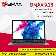 Bmax x15 15.6 Polegada laptops windows 10 1920*1080 intel gemini lago n4120 quad core 8gb ram 128gb ssd rom notebook wifi hdmi usb