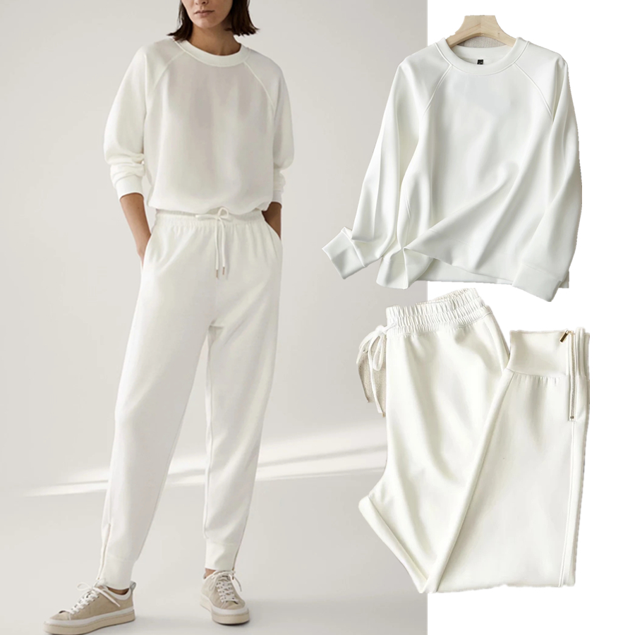Withered 2020 Winter Hoodies Women England Style Fashion O-neck Causal White Color Solid Simple Loose Sweatshirt Pullovers Tops 7