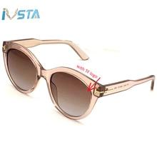 IVSTA TF 0611 with Original Logo Luxury Brand Designer Cat Eye Sunglasses Women Ladies Pink Festival Round Glasses Vintage Retro