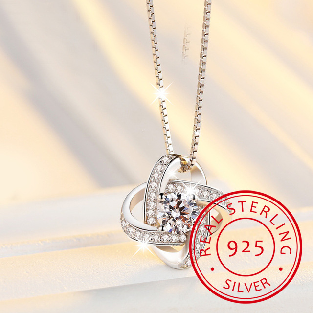 2019 New Four Leaf Clover Choker Necklace Jewelry Flower 925 Silver Pendants Necklaces Chain Birthday Gift For Women