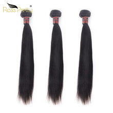 Ross Pretty Remy Brazilian Hair Weave Bundles Natural Black Color Straight Human weaving 8inch to 30inch 3 Pieces