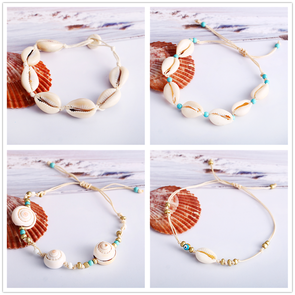 Vintage Boho Metal White Seashell Beach Anklets For Women New Gold Anklet Bracelets On The Leg Female Foot Jewelry Party Gift