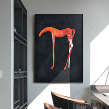 Современная Художественная живопись на холсте с изображением лошади абстрактный черный и оранжевый постер печать модная настенная художе...
