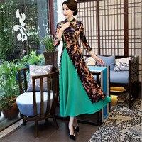 High quality Women modern ao dai vietnam dress long cheongsam style ladies high split qipao clothing floral plus size XXXL 4XL