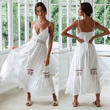 Beach Dresses Swimsuits Tunic Covered Woman Swimming Suit For Women 2020 New Hollow Harness Dress Sexy Lace Stitching Split