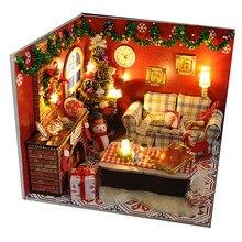 Diy casa de bonecas em miniatura móveis natal carnaval noite bonecas de madeira casa com luz led kits presente brinquedos para crianças