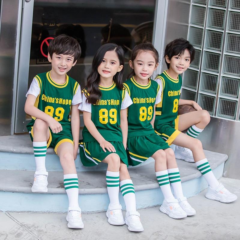 Summer School Uniform Young STUDENT'S Cotton Basketball Clothes Suit Kindergarten Suit Summer Wear Sports Two-Piece Set Children