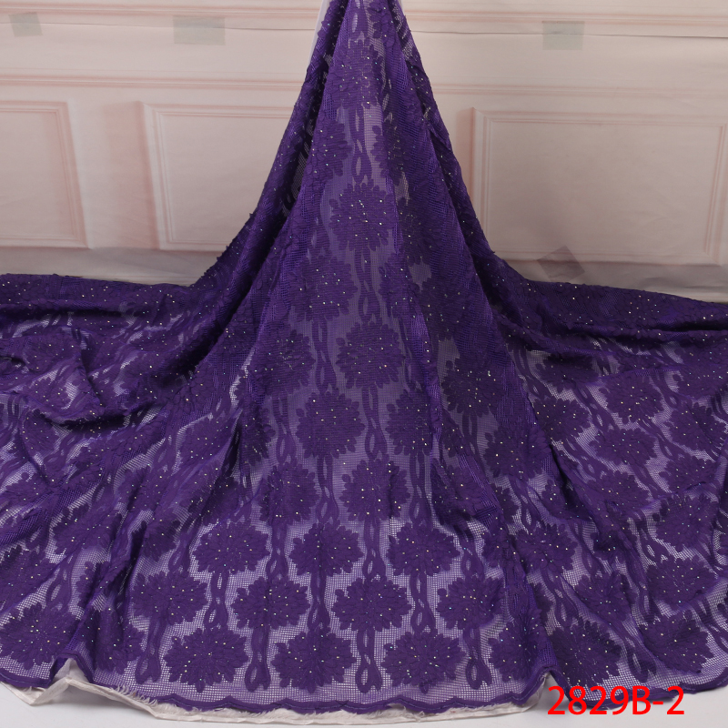 African Lace Fabric Latest 2019 High Quality French Nigerian Tulle Lace Fabric With Stones Embroidery For Party Dress YA2829B-2
