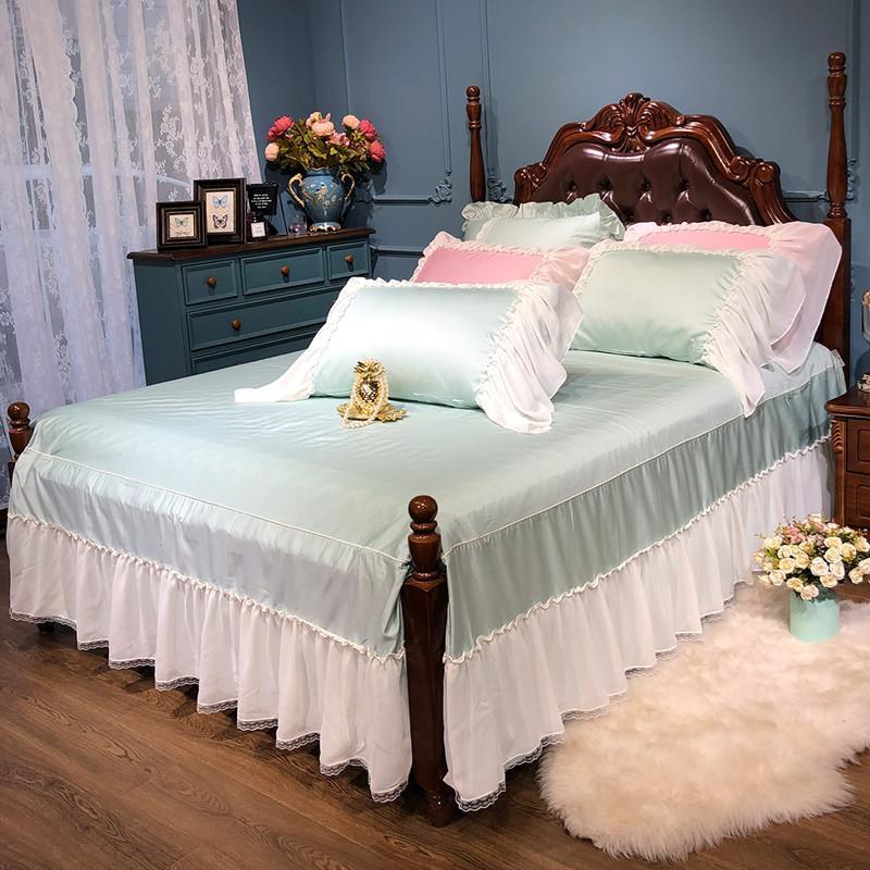 42 белая гофрированная юбка с разрезом по 4 углам комплект из 3 предметов из египетского хлопка для девочек, Комплект постельного белья, навол