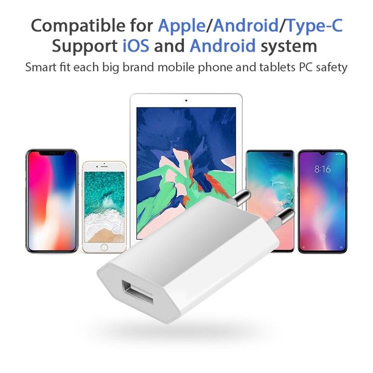 USB зарядное устройство для мобильного телефона зарядное устройство Европейского Универсальное зарядное USB устройство с AC дорожное Сетевое зарядное устройство адаптер питания для Apple iPhone 6 6S 5 5S 4 4S-5