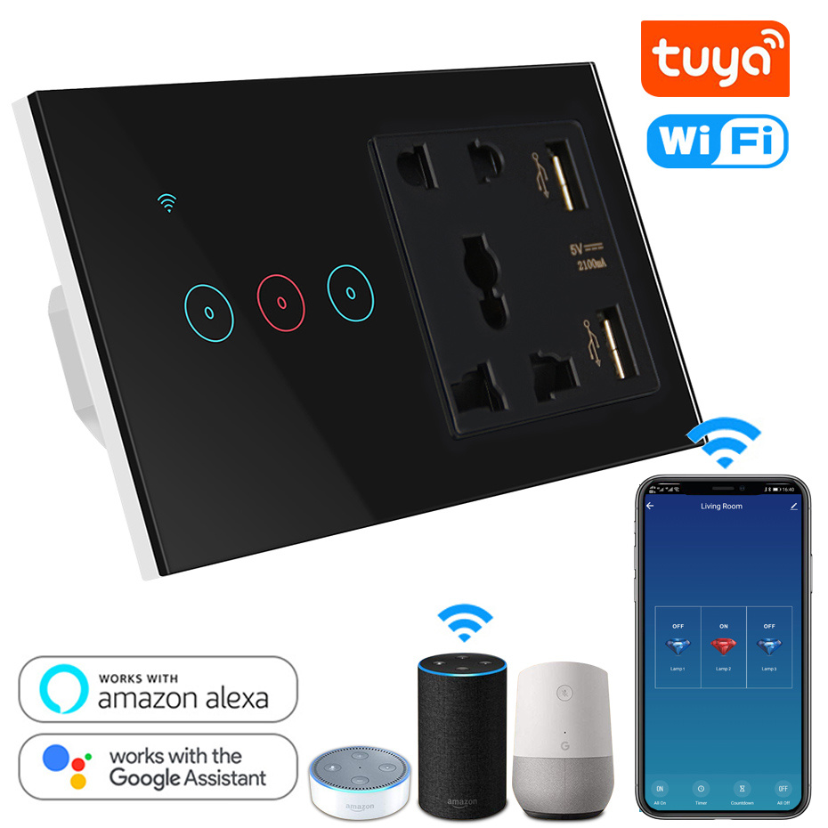Tuya Smart Life Socket USB With Switch WiFi LED Light Touch Wall Switch 3 Gang And Universal Socket Compatible Alexa Google Home