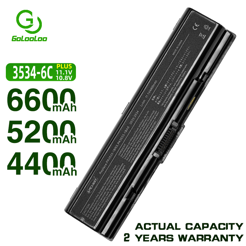 Golooloo PA3534U-1BRS laptop <font><b>Battery</b></font> for <font><b>Toshiba</b></font> Satellite A300 A500 for Pro L550 L450 <font><b>A200</b></font> L300 A350 A210 L500 PA3535U-1BAS image