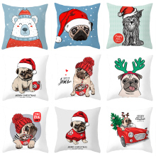 Pillow case 45*45CM cartoon Christmas dog print pattern pillowcase Holiday home decoration Christmas gift pillow cushion cover pillow cover christmas snow man home decoration