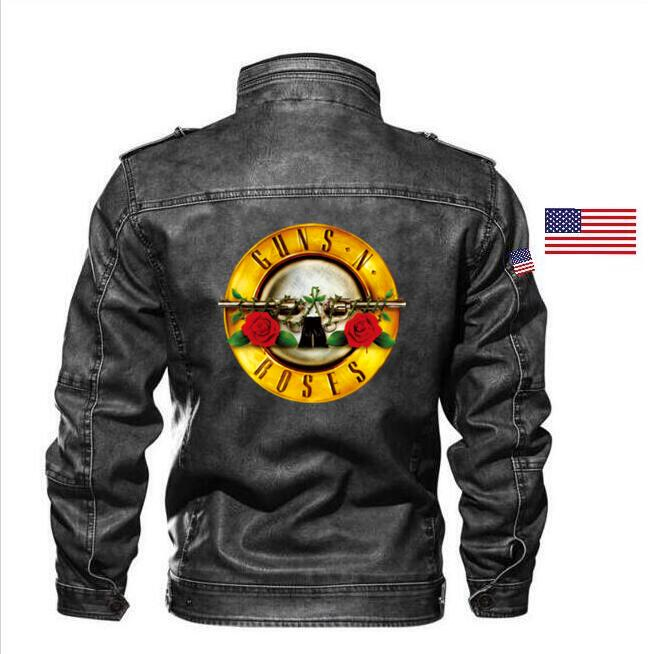 Goatskin Guns N' Roses Leather Jacket Slim Leather Aircraft Men's Jacket Branded Apparel + Embroidered Epaulettes