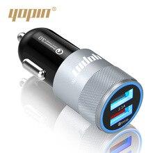 Yopin быстрая зарядка автомобильное зарядное устройство стиль двойной usb-зарядное устройство для смартфона алюминиевый сплав QC 3,0 Автомобильное зарядное устройство