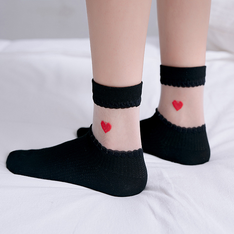Women Socks 2020 Spring Summer New Cute Heart Jacquard Long Socks Female Breathable Korean Style Transparent Socks Women