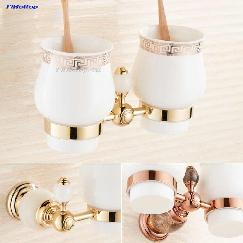 Tlhottop Jade Stone Double Cup Tumbler Holder Brass Golden Wall Mounted Toothbrush Cup Holder Bathroom Accessories YJ-8165 image
