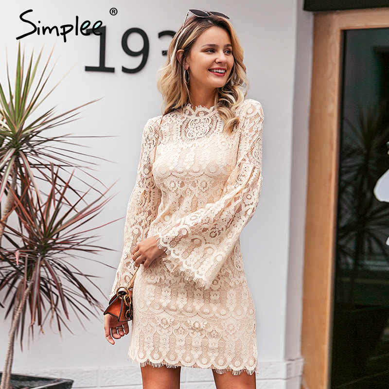 Simplee Sexy lace embroidery women dress Elegant flare sleeve female party dress Ruffled ladies autumn office dress vestidos(China)